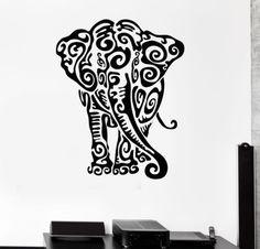 Indian Elephant Animal Wall Sticker Home Decor Vinyl Wall Decal Wall Art  Room Decor $15.99