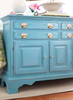 Furniture before and after makeover using Make-Your-Own-Chalk-Paint and glaze. Brass label and drawer pulls {InMyOwnStyle.com}  #beforeandafter  #furniture #turquoise