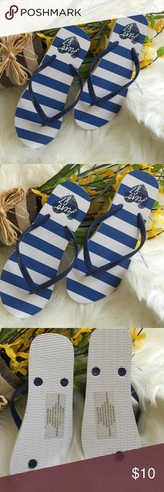 NEW AERO FLIP FLOPS NWOT but still has sticker on bottom! Perfectly blue and white stripe design with logo on strap. Great for comfort, color, and SUMMER☀️! Aeropostale Shoes