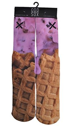 Odd Sox Ice Cream Cone Food Waffle Sublimated Crew Sock 6-13 Odd Sox http://www.amazon.com/dp/B00KWK9ZOA/ref=cm_sw_r_pi_dp_sgO2tb1JVH6WME1Y