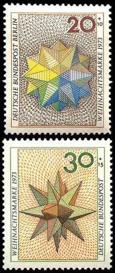 Deutsche Bundespost : : Polyhedron designs, (Christmas) semi-postal stamps : :  20 + 10 Berlin; 30 + 15 Germany : : issued in 1973