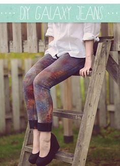 DIY Galaxy Jeans. Renueva tus viejos Jeans.