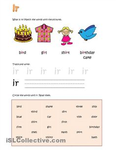 tracing, Letter ir: worksheet  teams reading. vowel writing, combination