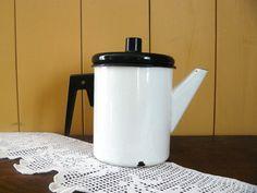 Vintage Enamel Tea Kettle Soviet era Enamelled by AtticSpider