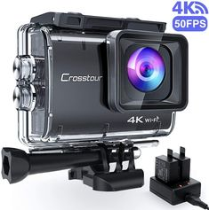 Crosstour Crosstour Action Camera Ultra Hd WiFi Underwater Cam EIS Anti-Shake Time-Lapse Recording Plus 2 Rechargeable Batteries USB Charger Accessories Sets, 9500 Camera Obscura, Camera Lens, Camera Selfie, Camera Case, Underwater Photography, Camera Photography, Camcorder, Camera Olympus, Camera Surveillance Wifi