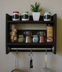 Industrial Rustic Wall Shelf Spice Rack with Towel Bar by KeoDecor, $95.00