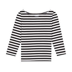 agnès b. black and white ovale T-shirt ($165) ❤ liked on Polyvore featuring tops, t-shirts, tee shirt, various colors, scoop-neck tees, 3/4 sleeve t shirts, scoop neck tee, striped t shirt and long tee