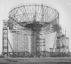 Jodrell Bank construction photo showing the first fitted reflector plates in the centre of the bowl