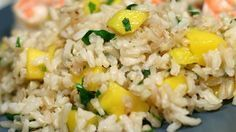 Mango-Lime Rice, #MangoLime #rice Side Dishes For Fish, Taco Side Dishes, Healthy Side Dishes, Rice Dishes, Side Dish Recipes, Healthy Food, Main Dishes, Healthy Eating, Cilantro Lime Brown Rice