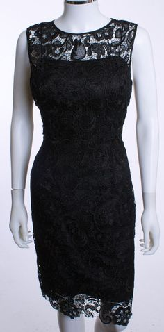 NWT LANGHEM AUSTRALIA ROUND NECK SLEEVELESS LINED  BLACK LACE SHIFT DRESS SZ 08  #LanghemAustralia #Shift