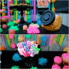 Neon 13th Birthday Party. Sock favors and snacks