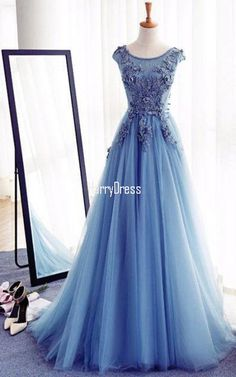 Charming Long Tulle Beading Appliques Lace A Line Blue Prom Dress