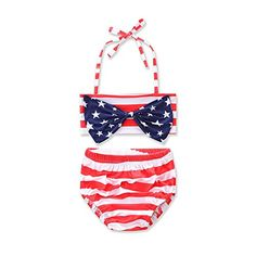 75860cd573b Kidsa Baby Toddler Girls 2 Pieces Swimwear Bikini Set Striped Halter Star  Bowknot Swimsuit American Flag