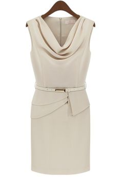 Apricot Sleeveless Belt Back Zipper Chiffon Dress // designer wears, love the waist detail & cowl neck #wearabledesign