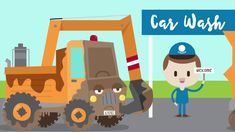 Construction Machines at the Car Wash.  Transportation music video for kids!  #kidssongs #preschool #construction