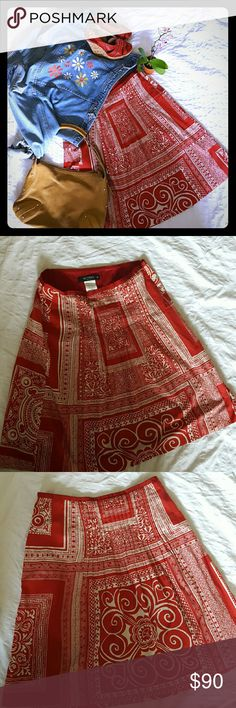 ETRO  Red Print Skirt Authentic ETRO red classic print.  Made in  Italy,   cotton, gently worn and we'well taken care of.  High end designer quality. Measures 23 inches from waist to hem. Size is 42 European / fits size 8/10. Excellent condition. Etro Skirts Midi