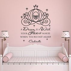 Cinderella Carriage Wall Decals For Girls- A Dream Is A Wish Your Heart Makes Quote Wall Decal- Fairy Wall Decal Girls Bedroom Decor 046 Cinderella Carriage Wall Decals For Girls A Dream Is by PonyDecal Girl Bedroom Walls, Wall Decals For Bedroom, Kids Wall Decals, Wall Sticker, Bedroom Decor, Disney Wall Decals, Wall Decor, Bedroom Ideas, Cinderella Bedroom