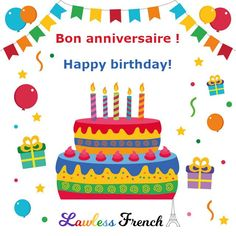 There's more than one way to say Happy Birthday in #French. #learnfrench #lawlessfrench Happy Birthday In French, Happy Birthday Me, Birthday Presents, Birthday Cards, Idiomatic Expressions, French People, French Expressions, French Teacher, Learn French