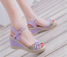 2018 woman wedge buckles fish mouth sandals gladiator women sandals mid heel sandals ladies summer peep toe women shoes Outfit Accessories From Touchy Style Women's Shoes, Dance Shoes, Wedge Shoes, Mid Heel Sandals, Sandal Wedges, Braided Sandals, Platform High Heels, Fashion Heels, Womens High Heels