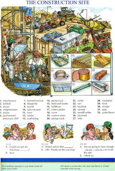 87 - THE CONSTRUCTION - Pictures dictionary - English Study, explanations, free exercises, speaking, listening, grammar lessons, reading, writing, vocabulary, dictionary and teaching materials
