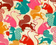 OMG MUST HAVE EPIC CUTE SQUIRREL FABRIC!!!!! I could make pj pants, and new kitchen curtains (no, nothing's wrong with my old ones, but this is cuter!) and... and... and... SEW ALL THE SQUIRRELS!!!