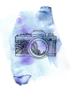 camera///purple + watercolor. my favorite///i love the background soo much!