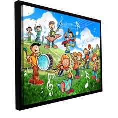 'Music Kids' by Luis Peres Framed Painting Print on Wrapped Canvas