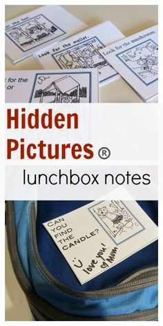hidden pictures lunchbox love notes #printables {Hmm thinking of cutting up some of the highlights activities he doesn't get to and sending in his lunchbox}