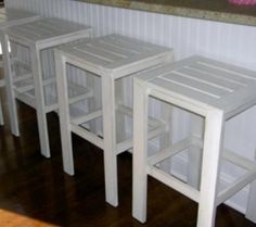 Free woodworking plans from Ana White, a self-taught designer and builder dedicated to helping people create their own furniture. Find the best DIY furniture plans here! Modern Outdoor Bar Stools, Diy Outdoor Bar, Diy Bar Stools, Diy Stool, Kitchen Stools, Rustic Stools, Stool Chair, Wooden Stools, Wooden Bar