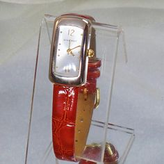 #Vintage Nine West Ladies Watch. Women's Watch. Faux Croc Leather Band Wrist Watch.  This vintage Nine West ladies watch is absolutely wonderful!  It features a rectancle shaped silver tone setting with a brushed silver face with gold hands including a swee... #etsy #vintage #antique #shopping #christmas #jewelry #jewellery