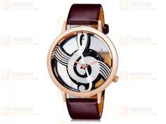 Analogové hodinky - ciferník houslový klíč v hnědé barvě