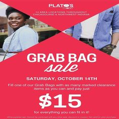 It's almost time for our grab bag event! Tomorrow Oct 14th all clearance you can stuff in a bag we give you is $15. Roll it tiny fold it smash it in the bag! #shop #trendystyles #fall #teenstyles #platosclosetsandyspring #sell #clearance #grabbagevent http://ift.tt/2hFNa8Z - http://ift.tt/1HQJd81
