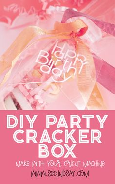 DIY Party Cracker Box created out of acetate. This cracker box is perfect for party favors and an elegant birthday party table setting. Use your Cricut to create these easy boxes in less than 15 minutes. Adorn with ribbons and stuff with candies or fun trinkets for an epic birthday party favor. #seelindsay #cricut #cricutcreated #acetatebox #cutacetatecricut #cricutbirthdayideas #partyfavor #diypartyfavor #diypaperbox #christmascrackerbox #cricutideas #birthdaypartyideas #cricutparty #party Elegant Birthday Party, Birthday Party Tables, It's Your Birthday, Diy Party Crackers, Wooden Cake Toppers, Party Poppers, Quick And Easy Crafts, Custom Napkins, Christmas Crackers