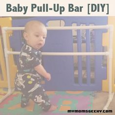 Help your little one learn to stand up on their own with an easy to make pull-up bar. #baby #craft #diy