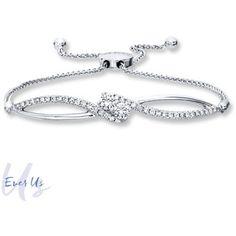 Ever Us Bolo Bracelet 3/4 ct tw Diamonds 14K White Gold