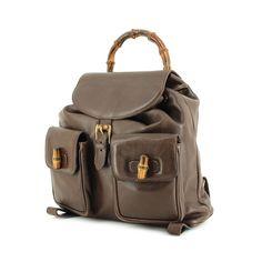 Gucci sac à dos Bamboo en cuir marron d52231891c9