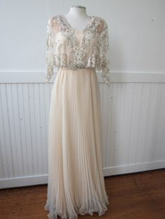 Vintage 70s Winter Ice Sequins Sheer Accordian Pleated Maxi Wedding Formal Festive Dress Small. $250.00, via Etsy.