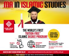 Islamic Online University offers the world's first tuition-free Master's program in Islamic Studies. Online Masters Programs, Online Programs, Islamic Online University, Islamic Studies, College Courses, Online College, Study, Free, Ads