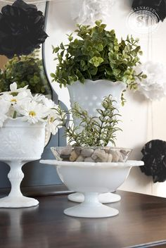 Milk Glass Arrangement
