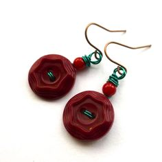 Christmas Burgundy Vintage Button Dangle Earrings with red and green by buttonsoupjewelry
