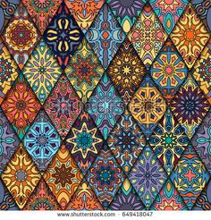 Find Colorful Vintage Seamless Pattern Floral Mandala stock images in HD and millions of other royalty-free stock photos, illustrations and vectors in the Shutterstock collection. Mandala Art, Pattern Floral, Art Deco Bathroom, Diy Art Projects, Mandala Coloring, Art Deco Design, Tile Patterns, Islamic Art, Designs To Draw