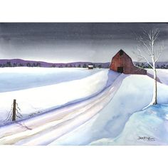 Barn painting Watercolor landscape painting by derekcollins, $125.00