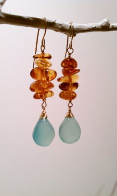 Amber Pebble Stacks with Ocean Blue by MistyEvansDesign, $65.00