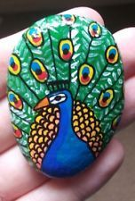 Original hand painted rock art stone peacock aviary birds