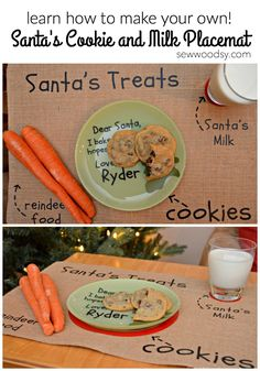 DIY Santa's Cookie and Milk Placemat #cricutdesignspacestar #imadeit #christmas