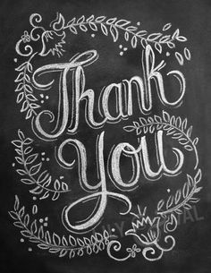 Thank You Card - Chalkboard Thank You Card  - Floral Chalk Art - Hand Lettered Card. $2.50, via Etsy.