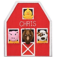 Our barn birthday cake features four farm friends looking out the windows and saying Hay! to one and all. Use the Hexagon and Sheet Pans to build the barn and Mini Balls for each animal.