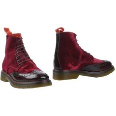 Snobs Ankle Boots ($110) ❤ liked on Polyvore featuring shoes, boots, ankle booties, maroon, ankle boots, army boots, real leather combat boots, leather combat boots and leather ankle booties