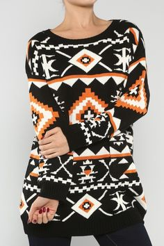Western Print Sweater #wholesale #clothing #prints #graphics #fashion #fall #love #ootd #wiwt #pants #skirts #dresses #tops #outerwear #sweaters