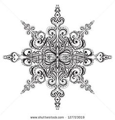 Ornamental black and white snowflake. Tattoo pattern - stock photo